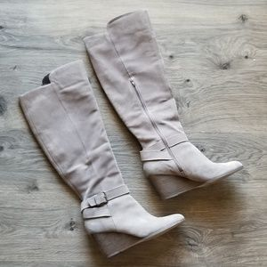 Sole Society Paloma Wedge Boots Knee High Half Zip